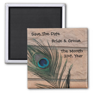 Peacock with Bricks Wedding Save the Date 2 Inch Square Magnet