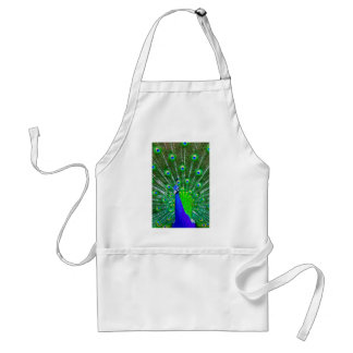 Peacock with fanned tail adult apron