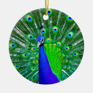 Peacock with fanned tail ceramic ornament