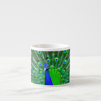 Peacock with fanned tail espresso cup