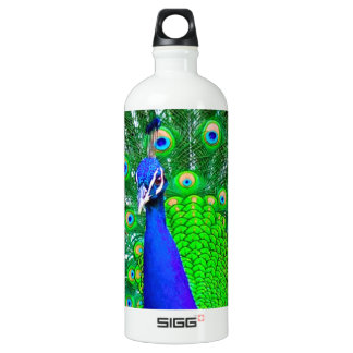 Peacock with fanned tail water bottle