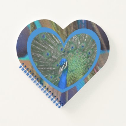 Peacock with Feathers Heart Shaped Notebook