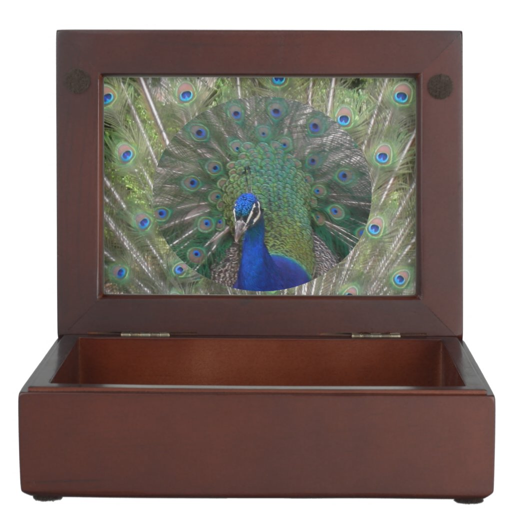 Peacock with feathers Keepsake Box