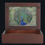 """Peacock with feathers Keepsake Box<br><div class=""""desc"""">In this Peacock Keepsake Box you can keep your shopping gifts from our Peacock Gifts Collection.</div>"""