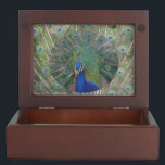 "Peacock with feathers Keepsake Box<br><div class=""desc"">In this Peacock Keepsake Box you can keep your shopping gifts from our Peacock Gifts Collection.</div>"