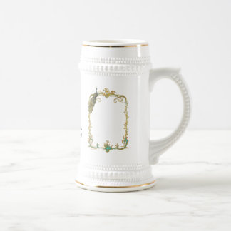 Peacock with Gold Frame Mug Stein