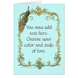Peacock with Gold Frame Ornate Art Print Cards