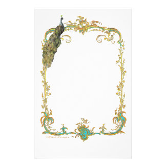 Peacock with Gold Frame Ornate Art Print Flyer