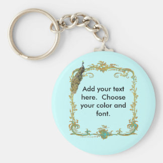 Peacock with Gold Frame Ornate Art Print Keychains