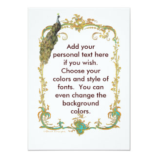 Peacock with Gold Frame Ornate Stationery Personalized Invitations
