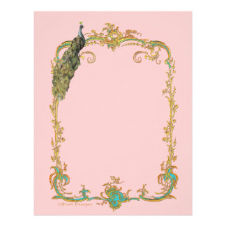 Peacock with Gold Frame Ornate Stationery Letterhead Template