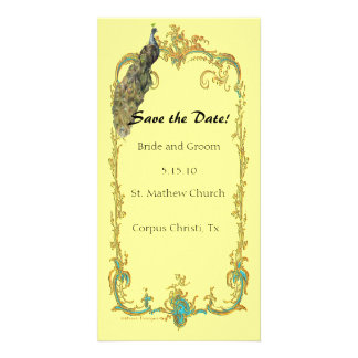 """Peacock with Gold Frame """"Save the Date"""" Card Photo Cards"""
