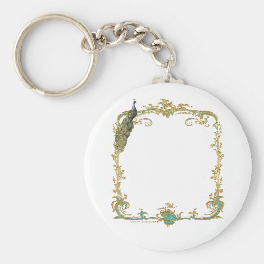"""Peacock with Gold Frame """"Save the Date"""" Keychain"""