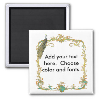 """Peacock with Gold Frame """"Save the Date"""" Magnet"""