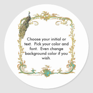 """Peacock with Gold Frame """"Save the Date"""" Sticker"""