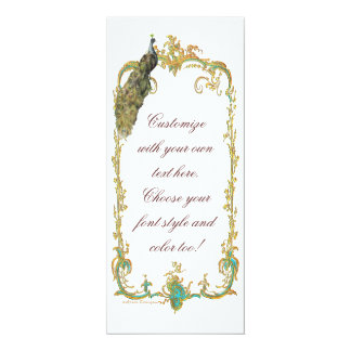 """Peacock with Gold """"Save the Date"""" Invitation Card"""