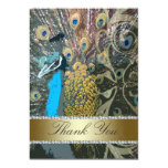 Peacock with Gold Wedding Thank You Cards