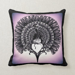 Peacock with Heart Throw Pillow