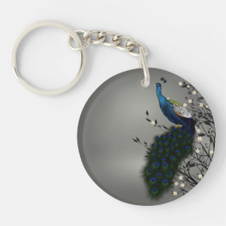 Peacock with Japanese blossom Double-Sided Round Acrylic Keychain