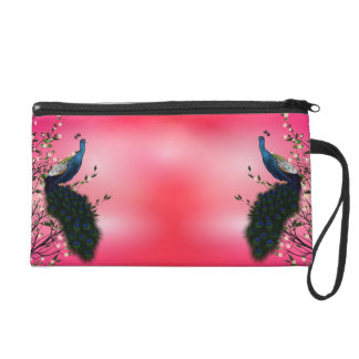 Peacock with Japanese Blossom Wristlet