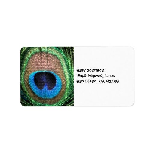 Peacock with Stained Glass Effect. Personalized Address Labels