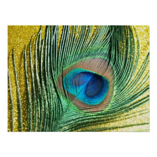 Peacock Yellow Glittery Still Life Poster