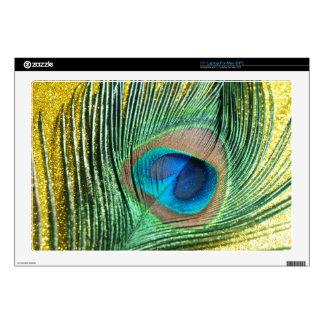 "Peacock Yellow Glittery Still Life 17"" Laptop Skins"