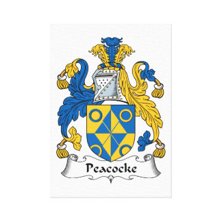 Peacocke Family Crest Canvas Print