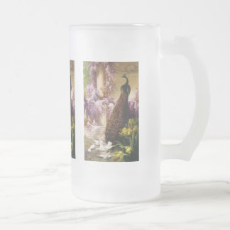 Peacocks and Doves Frosted Glass Beer Mug