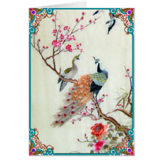 Peacocks and Plum Blossoms Card