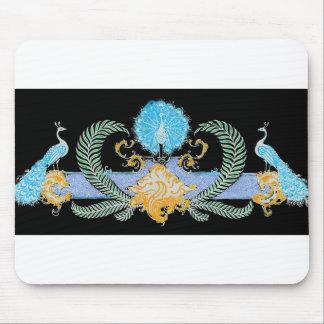 Peacocks and wreath blue inversion mousepad