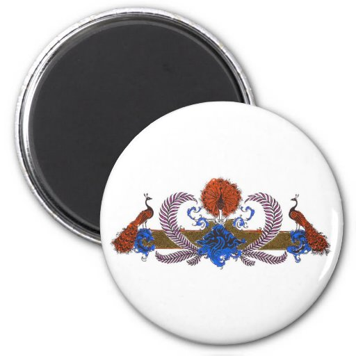 Peacocks And Wreath Brown Blue Magnets