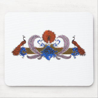 Peacocks And Wreath Brown Blue Mouse Pads