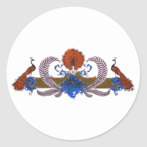Peacocks And Wreath Brown Blue Classic Round Sticker