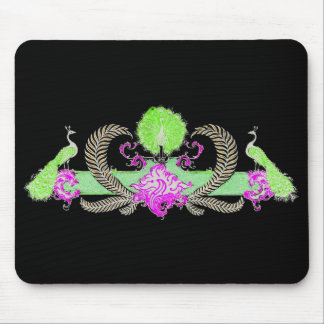 Peacocks and wreath green on black background mousepad