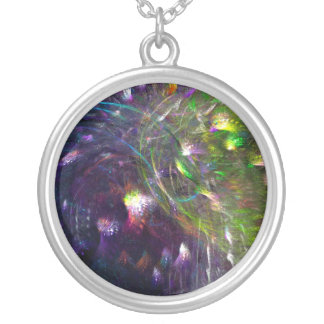 Peacocks At Night Round Pendant Necklace