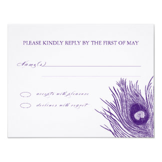 Peacock's Feather RSVP Card