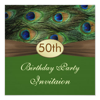 Peacock's feathers 50th Birthday Party Invitation