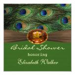 Peacock's feathers, amber effect  Bridal shower 5.25x5.25 Square Paper Invitation Card