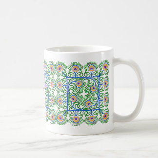 Peacocks Feathers Embroidery-Style Mug