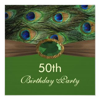 Peacock's feathers, gemstone effect 50th Birthday  Card