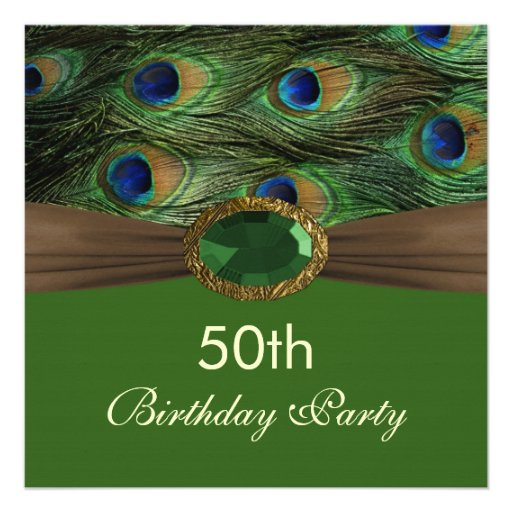 peacock s feathers gemstone effect 50th birthday invite