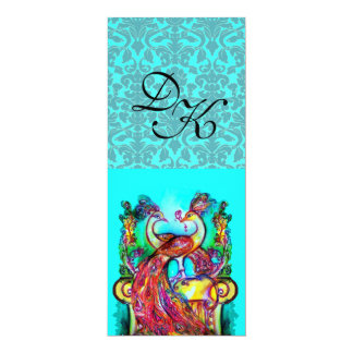 PEACOCKS IN LOVE AQUA BLUE TEAL DAMASK MONOGRAM CARD