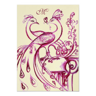 "PEACOCKS IN LOVE MONOGRAM 2 red pink gold 5"" X 7"" Invitation Card"