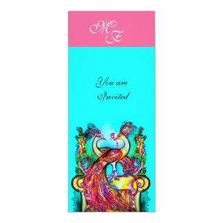 PEACOCKS IN LOVE  MONOGRAM pink teal blue green Card
