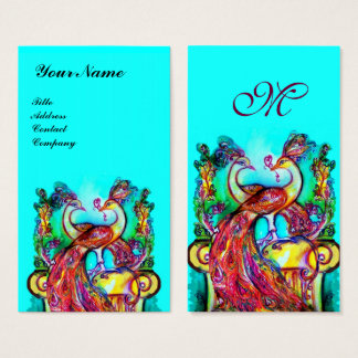 PEACOCKS IN LOVE MONOGRAM,Red Aqua Blue Turquoise Business Card