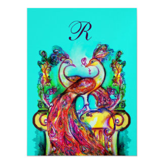PEACOCKS IN LOVE MONOGRAM red blue green gold Card