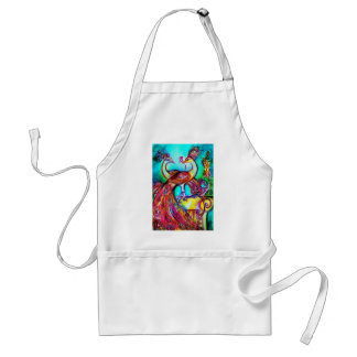 PEACOCKS IN LOVE  MONOGRAM red blue turquase green Adult Apron