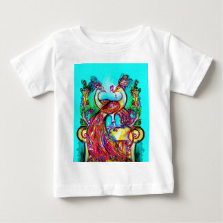 PEACOCKS IN LOVE  MONOGRAM red blue turquase green Baby T-Shirt