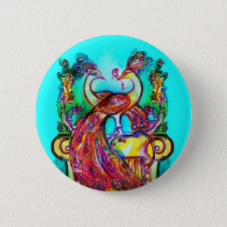 PEACOCKS IN LOVE  MONOGRAM red blue turquase green Button